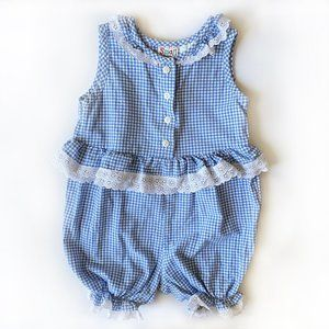 Vintage Gingham Blue and White Lace Jumpsuit 4T